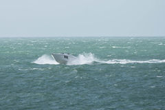 A motorboat on the English Channel. A motorboat sailing on the English Channel stock images