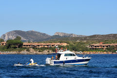 Motorboat In Golfo Di Marinella, Sardinia Royalty Free Stock Photo