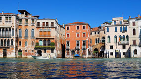 Motorboat on the Grand Canal in Venice, Italy Stock Images