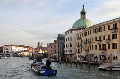 Motorboat on the Grand Canal in Venice. Navigation on the Grand Canal in Venice, Italy stock photography
