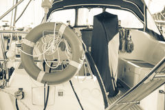 Motorboat. Inside a luxury motorboat in doc royalty free stock images