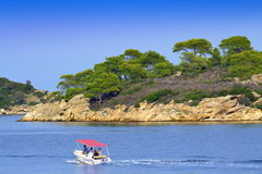 Motorboat journey Aegean sea coast Stock Photo
