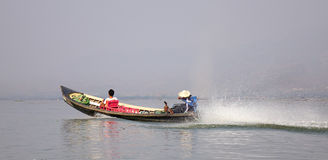 Motorboat on the lake in Inlay, Myanmar Royalty Free Stock Images
