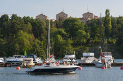 Motorboat in marina Stockholm Royalty Free Stock Images