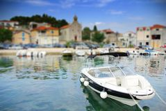 Motorboat moored in the old harbor or marina, Croatia Dalmatia Stock Images