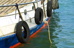 Motorboat with mooring rope Stock Photos