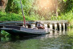 Motorboat. Parking, in the canal of Thailand royalty free stock photo