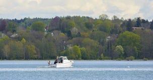 Motorboat na Starnberger jeziorze Obrazy Royalty Free