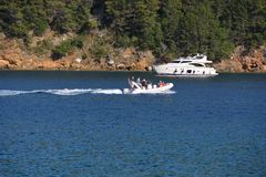 Motorboat near island Cres Royalty Free Stock Images