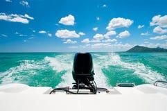 Motorboat no oceano do Cararibe Fotos de Stock