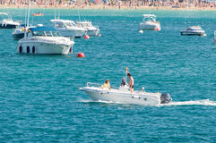 Motorboat in the ocean Stock Photo