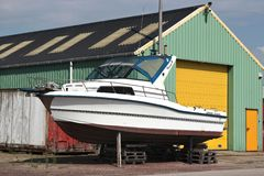 Motorboat. For overhaul in dockyard royalty free stock photos