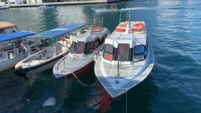 Motorboat po ?rodku b??kitne wody Jeziorny Tahoe, Kalifornia, Stany Zjednoczone zbiory wideo
