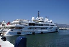 Motorboat. powerboat, Marbella marina, harbor, port, Spain Stock Photo