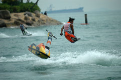 Motorboat racing. A motorboat racing in sentosa, singapore royalty free stock images