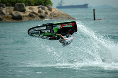 Motorboat racing. A motorboat racing in sentosa, singapore stock photo