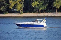 Motorboat on river Royalty Free Stock Images