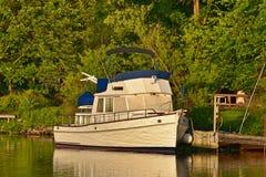 Motorboat On River. A natural landscape or vista stock photography