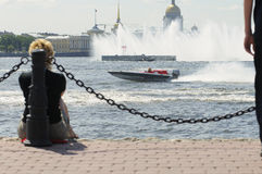 Motorboat on the river Neva, St.-Petersburg. World Championship Endurance Pneumatics Class 1/2/3/4/5 24 hours St.-Petersburg July, 5-6th 2008 Royalty Free Stock Image