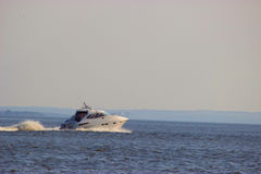 Motorboat on the route. Blue sea landscape stock photos