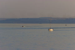 Motorboat on the route. Blue sea landscape stock images