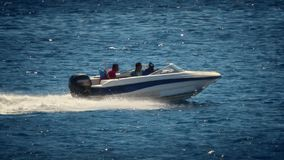 Motorboat on the route on red sea stock footage