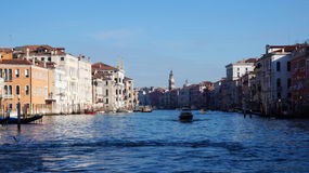 Motorboat is sailing on Grand Canal in Venice, Italy Royalty Free Stock Photo
