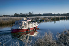 Motorboat sailing on Ribe River Royalty Free Stock Photography