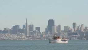 Motorboat in San Francisco Bay stock video footage