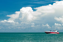 Motorboat in the sea. Motorboat floating in the sea Royalty Free Stock Photography