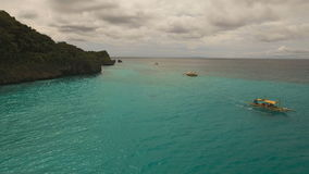 Motorboat on the sea, aerial view.Boracay island Philippines. stock video footage