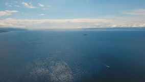 Motorboat on the sea, aerial view.Cebu island Philippines. stock video