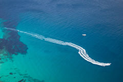 Motorboat on sea. Aerial view of two motorboats on turquoise sea stock photo