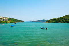 Motorboat in sea bay. The photo was taken in Clearwater Bay Country Park Hongkong,China royalty free stock photography