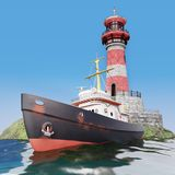 Motorboat at sea near lighthouse Stock Images