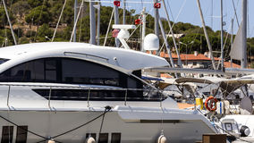 Motorboat. Section of a motorboat moored at Cesme marina royalty free stock images