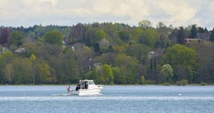 Motorboat on Starnberg Lake Royalty Free Stock Images