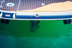 Motorboat stern with engine, sailing, yachting Royalty Free Stock Photography