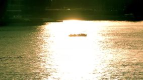 Motorboat at sunset. Beautiful landscape. stock video footage