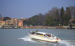 Motorboat taxi to Venice Stock Images