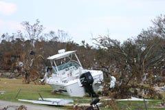 Motorboat thrown onto land by Hurricane Katrina. Taken near Biloxi, MS on September 9 stock photography