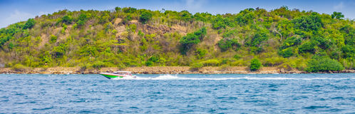 Motorboat for tourists. This location is at Pattaya bay in Thailand royalty free stock images
