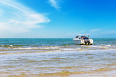 Motorboat travel on daylight Royalty Free Stock Photos