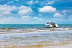 Motorboat travel on daylight Stock Image