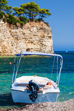Motorboat on tropical sea Royalty Free Stock Images