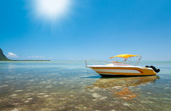 Motorboat in tropical sun Royalty Free Stock Image