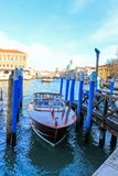 Motorboat Venezia city canal. Water canal in Venezia, Italy Royalty Free Stock Images