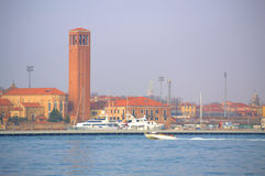 Motorboat in Venice lagoon Royalty Free Stock Photo