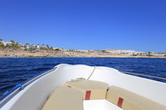 Motorboat. View forward from a motor boat royalty free stock images