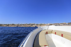 Motorboat. View forward from a motor boat stock image